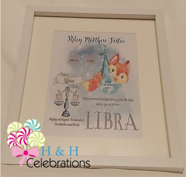 Libra New Baby Star Sign Print